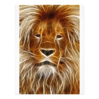Retrato del león que brilla intensamente flyer personalizado