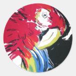 Retrato del Macaw del escarlata Etiquetas Redondas