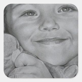 Retrato del niño pegatina cuadrada