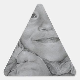 Retrato del niño pegatina triangular