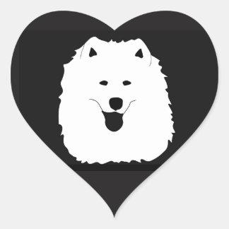 ¡Retrato del samoyedo, hoja brillante de los Pegatina En Forma De Corazón