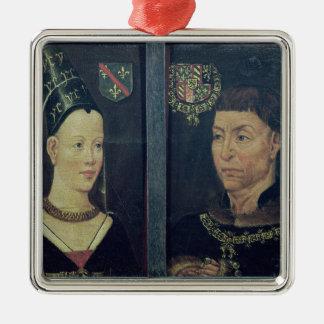 Retrato doble de Charles le Temeraire duque Adorno Navideño Cuadrado De Metal