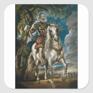 Retrato ecuestre del duque de Lerma - Rubens Pegatina Cuadrada
