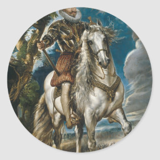 Retrato ecuestre del duque de Lerma - Rubens Pegatina Redonda