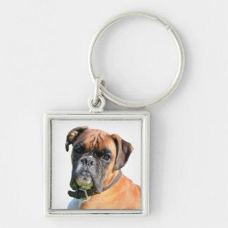 Retrato hermoso de la foto del perro del boxeador llavero cuadrado plateado