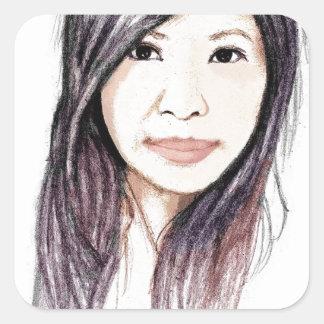 Retrato hermoso de una mujer asiática pegatina cuadrada