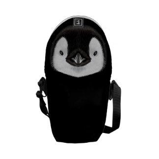 Retrato ilustrado del polluelo del pingüino de bolsa messenger