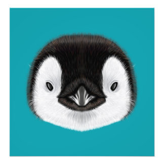 Retrato ilustrado del polluelo del pingüino de foto