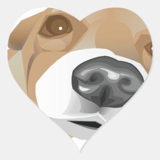 Retrato ilustrado del vector de un pequeño perro pegatina en forma de corazón