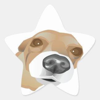 Retrato ilustrado del vector de un pequeño perro pegatina en forma de estrella