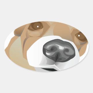 Retrato ilustrado del vector de un pequeño perro pegatina ovalada