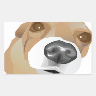 Retrato ilustrado del vector de un pequeño perro pegatina rectangular