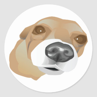 Retrato ilustrado del vector de un pequeño perro pegatina redonda