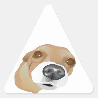 Retrato ilustrado del vector de un pequeño perro pegatina triangular
