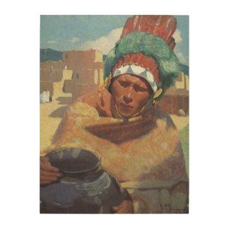 Retrato indio del nativo americano de Taos, Impresiones En Madera