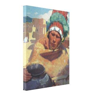 Retrato indio del nativo americano de Taos, Impresion En Lona