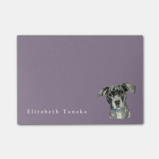 Retrato negro de la acuarela del perro del pitbull notas post-it®