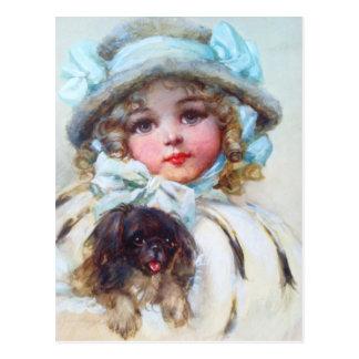 Retrato querido de una niña y de su perro postal
