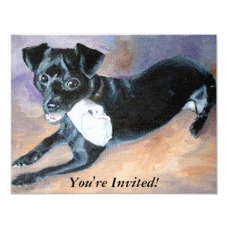 Retrato Snoopy del perro de la mezcla de Terrier Invitación 10,8 X 13,9 Cm
