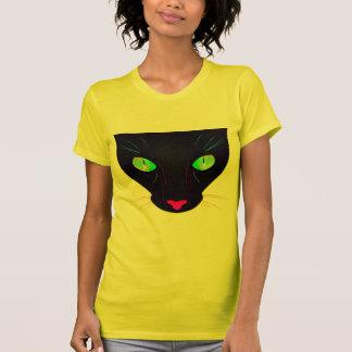 Retrato verde fluorescente de los ojos de gato camisetas