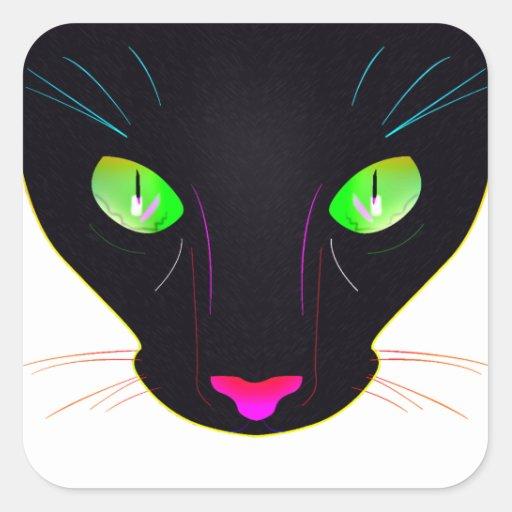 Retrato verde fluorescente de los ojos de gato calcomanía cuadrada