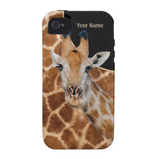 Retrato y piel - personalizar de la jirafa iPhone 4 carcasas