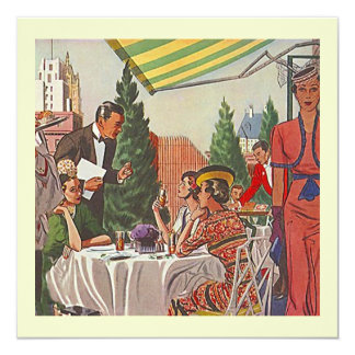 Retro almuerza la señora amigos de las invitación 13,3 cm x 13,3cm