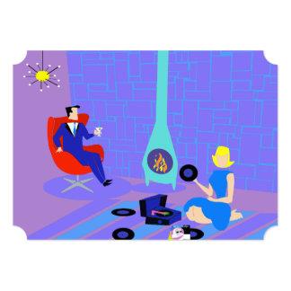 Retro igualando en casa invitaciones del fiesta invitación 12,7 x 17,8 cm