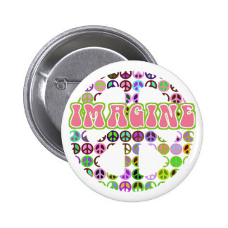 Retro imagínese los botones de la paz chapa redonda 5 cm
