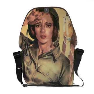 Retro militar de la enfermera del ejército de la bolsas de mensajeria