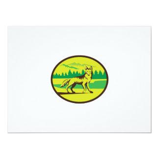 Retro oval del paisaje de la montaña del coyote invitación 16,5 x 22,2 cm