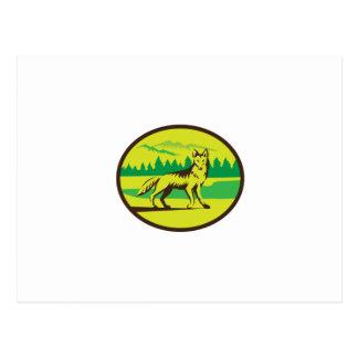 Retro oval del paisaje de la montaña del coyote postal