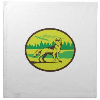 Retro oval del paisaje de la montaña del coyote servilletas imprimidas
