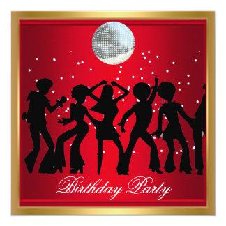 Retro rojo de la fiesta de cumpleaños de los años invitación 13,3 cm x 13,3cm
