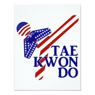 Retroceso de los E.E.U.U. el Taekwondo (1) Invitación 10,8 X 13,9 Cm
