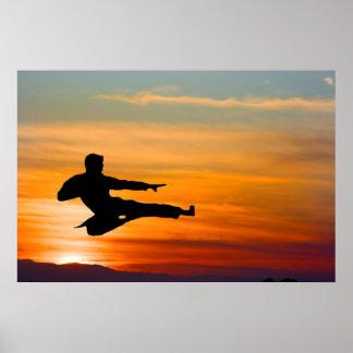 Retroceso del karate en la salida del sol, poster