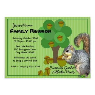 Reunión de familia de la ardilla invitación 12,7 x 17,8 cm