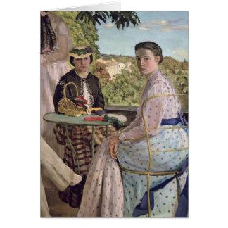 Reunión de familia, detalle de dos mujeres, 1867 tarjeta de felicitación