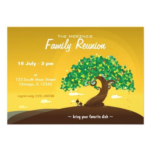 Reunión de familia (naranja) invitación personalizada