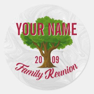 Reunión de familia personalizada árbol animado pegatina redonda