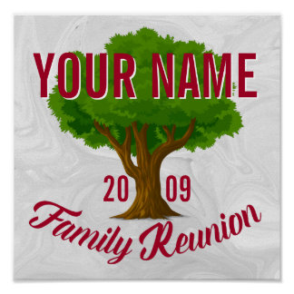 Reunión de familia personalizada árbol animado póster