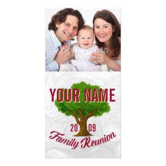 Reunión de familia personalizada árbol animado tarjetas fotográficas