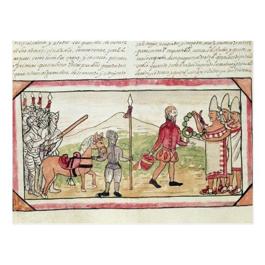Reunión de Hernando Cortes y de Montezuma Postal