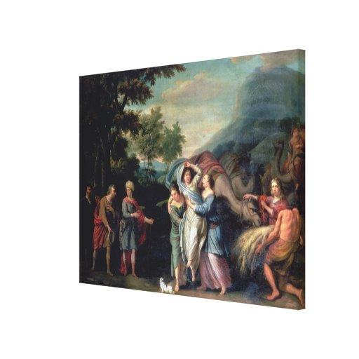 Reunión de Jacob y de Laban con Raquel, Leah y S Lona Envuelta Para Galerias