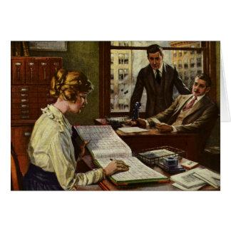 Reunión de negocios del vintage, ejecutivos en tarjeta de felicitación