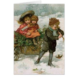 Reunión del acebo - una tarjeta de Navidad del
