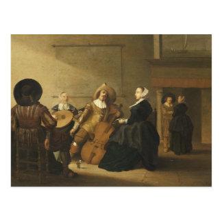 Reunión musical del alfarero de Pieter Symonz Postal