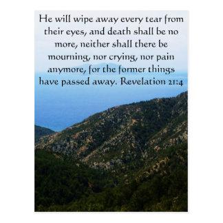 Revelación 21 del verso de la biblia de la postal