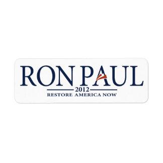 Revolución de Ron Paul Etiqueta De Remitente