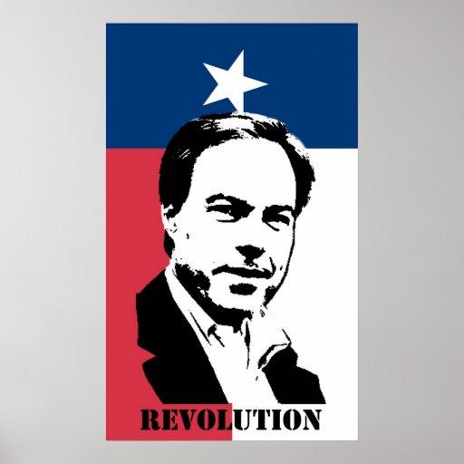 Revolución de Straus (con la bandera de Tejas) Posters